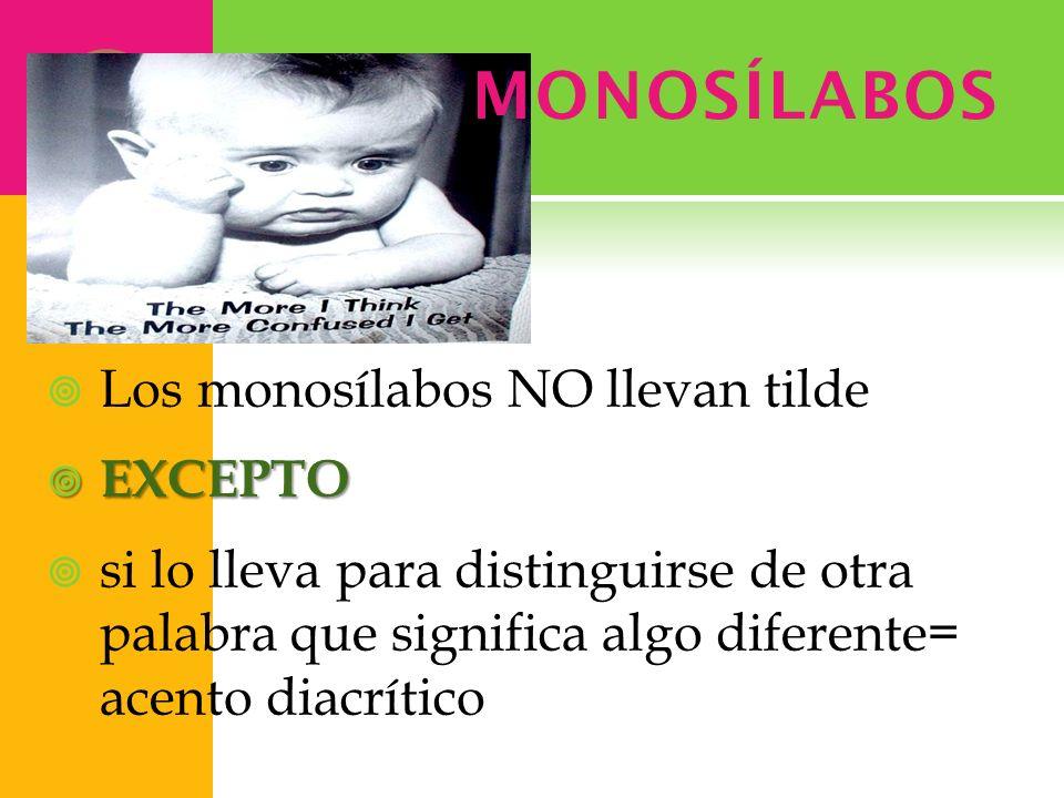 MONOSÍLABOS Los monosílabos NO llevan tilde EXCEPTO
