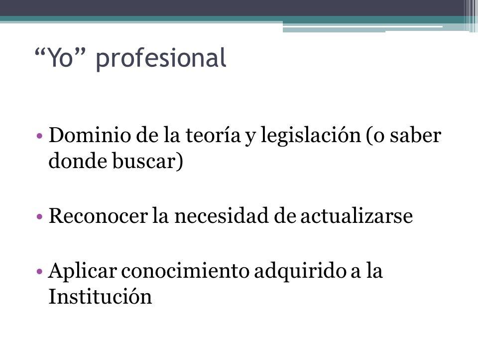 Yo profesional Dominio de la teoría y legislación (o saber donde buscar) Reconocer la necesidad de actualizarse.