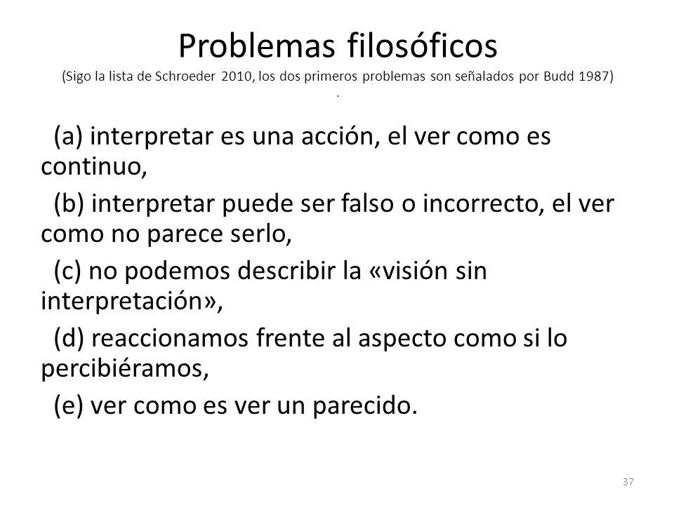Problemas filosóficos (Sigo la lista de Schroeder 2010, los dos primeros problemas son señalados por Budd 1987) .