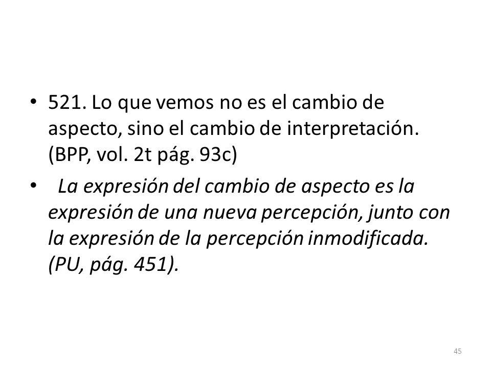 521. Lo que vemos no es el cambio de aspecto, sino el cambio de interpretación. (BPP, vol. 2t pág. 93c)