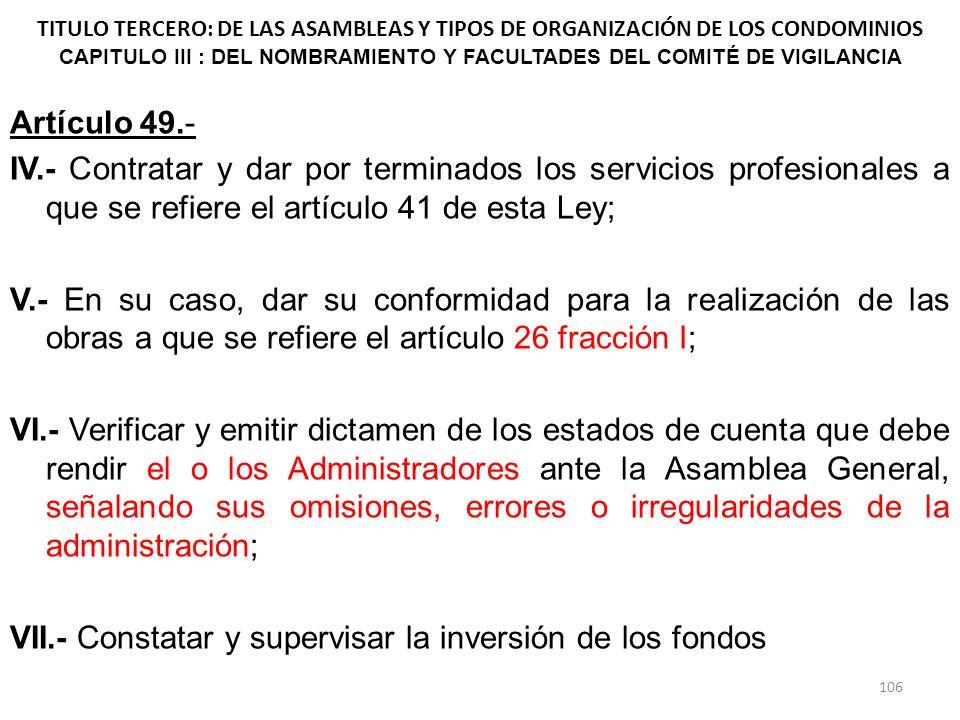 TITULO TERCERO: DE LAS ASAMBLEAS Y TIPOS DE ORGANIZACIÓN DE LOS CONDOMINIOS CAPITULO III : DEL NOMBRAMIENTO Y FACULTADES DEL COMITÉ DE VIGILANCIA