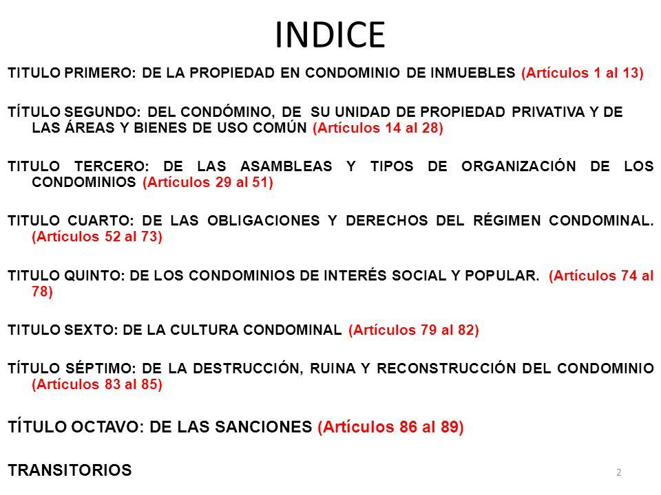 INDICE TÍTULO OCTAVO: DE LAS SANCIONES (Artículos 86 al 89)