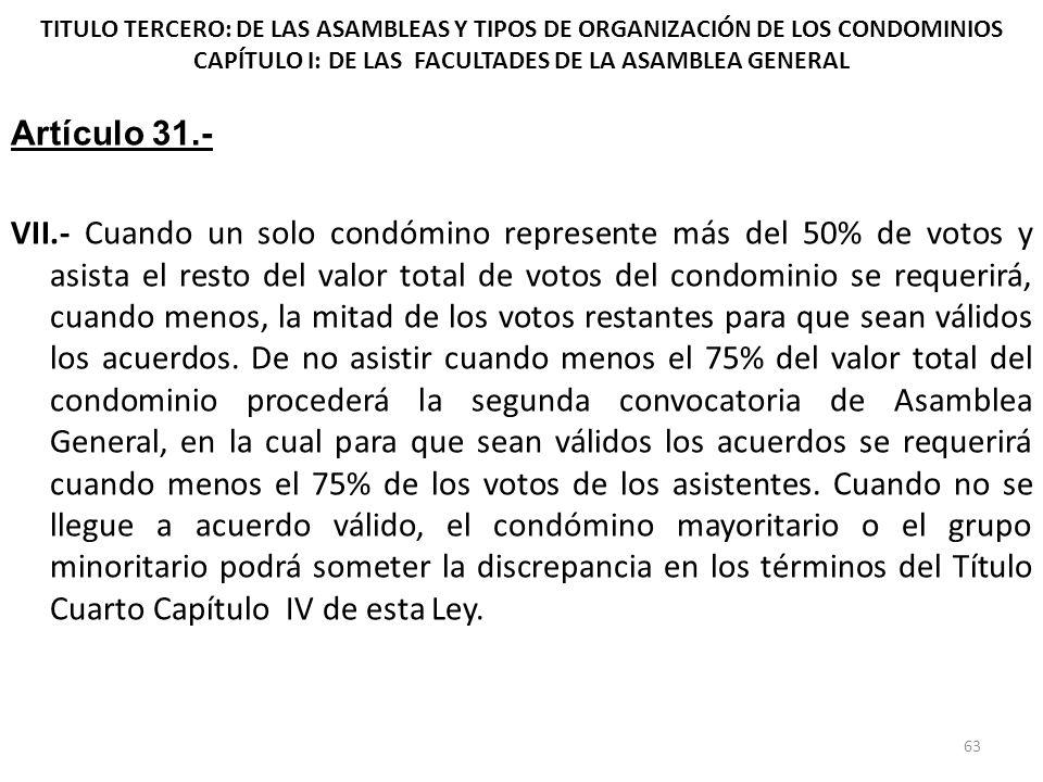 TITULO TERCERO: DE LAS ASAMBLEAS Y TIPOS DE ORGANIZACIÓN DE LOS CONDOMINIOS CAPÍTULO I: DE LAS FACULTADES DE LA ASAMBLEA GENERAL