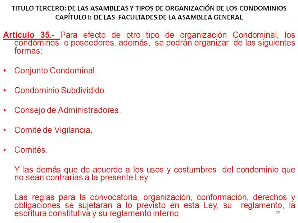 Condominio Subdividido. Consejo de Administradores.