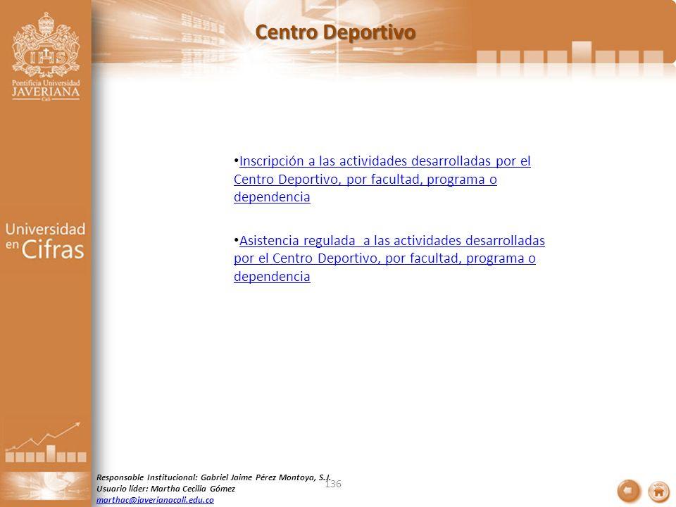Centro Deportivo Inscripción a las actividades desarrolladas por el Centro Deportivo, por facultad, programa o dependencia.