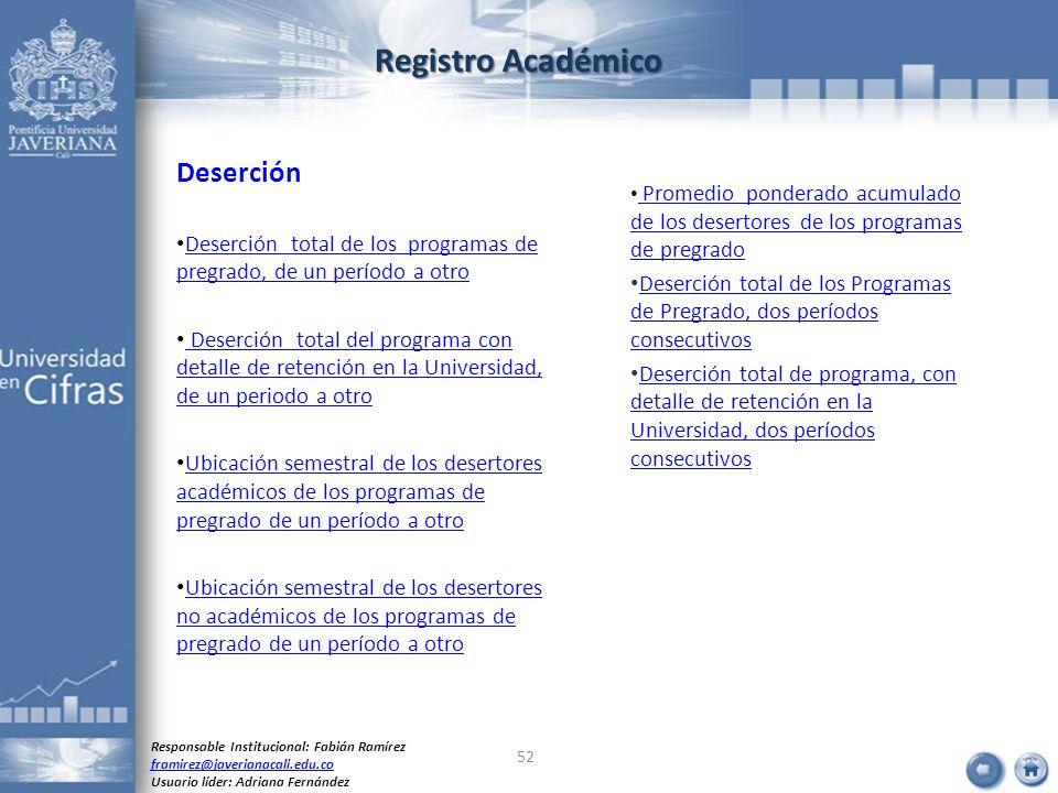 Registro Académico Deserción