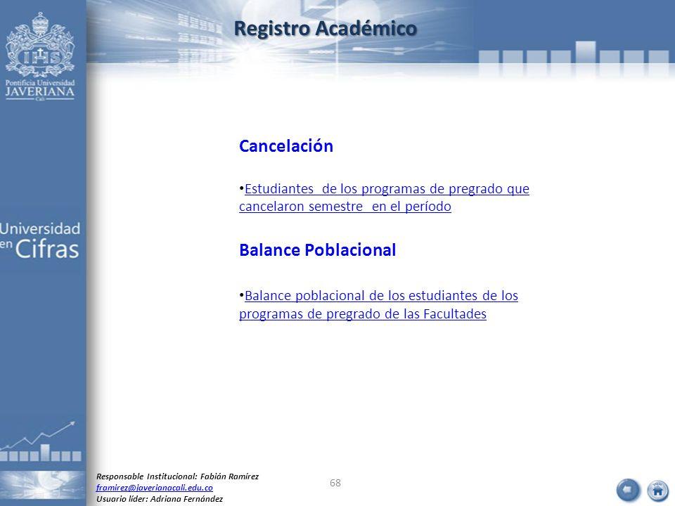 Registro Académico Cancelación Balance Poblacional