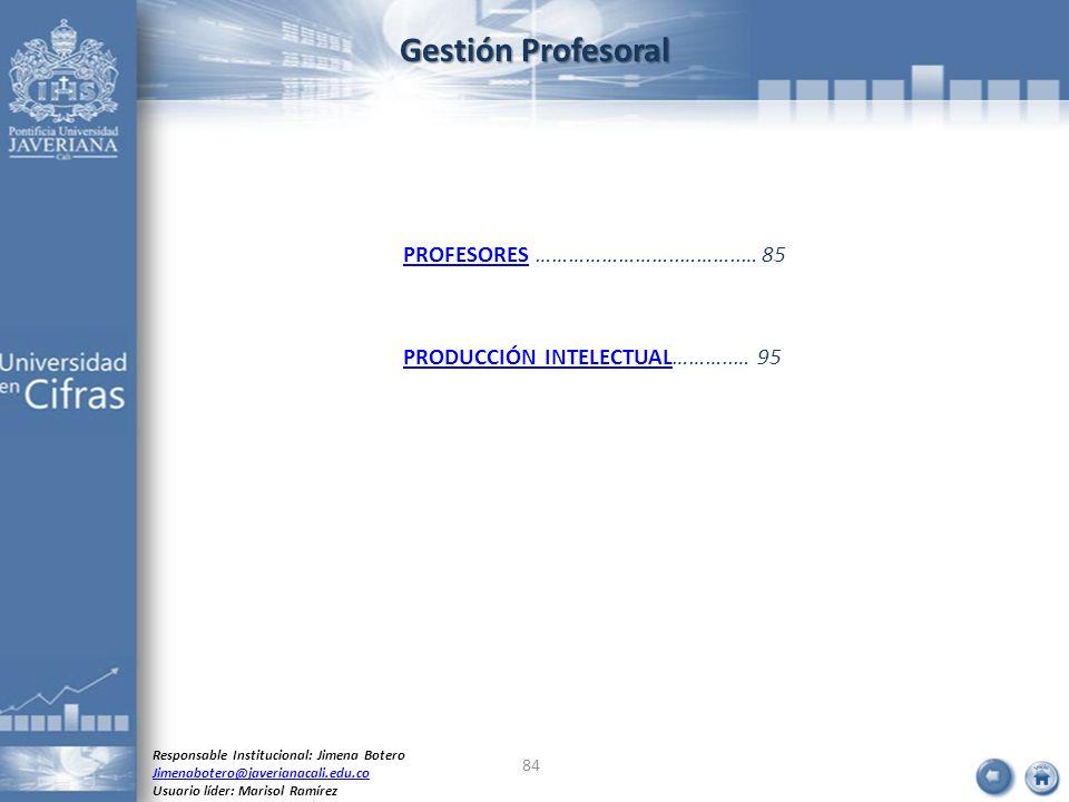 Gestión Profesoral PROFESORES ……………………..………..… 85