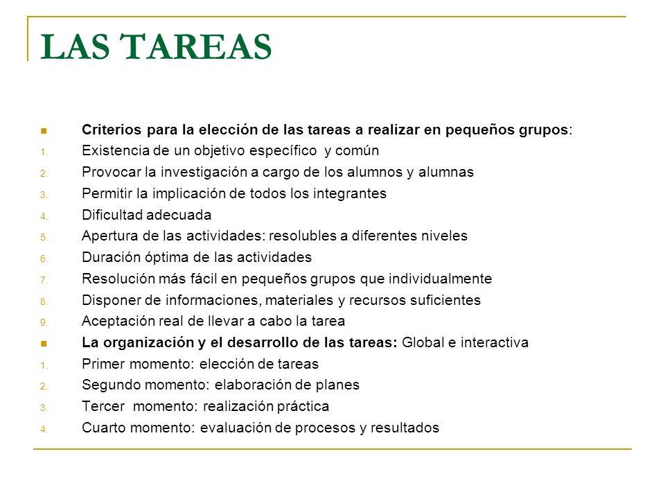 LAS TAREAS Criterios para la elección de las tareas a realizar en pequeños grupos: Existencia de un objetivo específico y común.