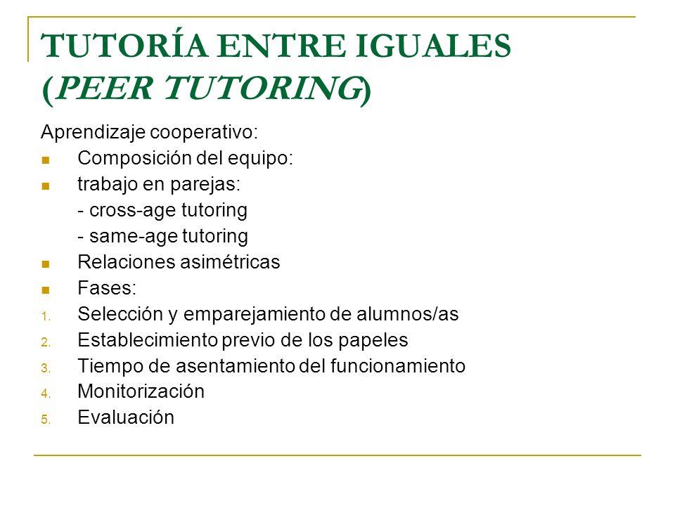 TUTORÍA ENTRE IGUALES (PEER TUTORING)