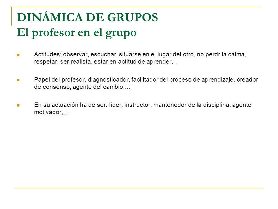 DINÁMICA DE GRUPOS El profesor en el grupo
