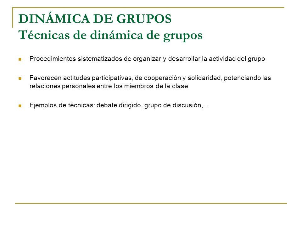 DINÁMICA DE GRUPOS Técnicas de dinámica de grupos