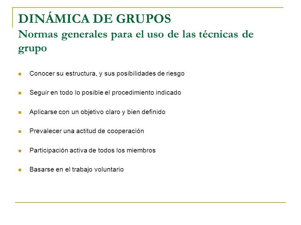 DINÁMICA DE GRUPOS Normas generales para el uso de las técnicas de grupo