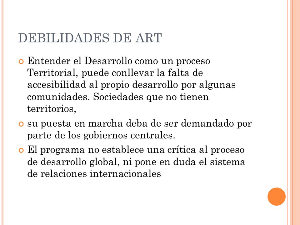 DEBILIDADES DE ART