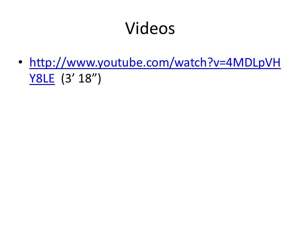 Videos http://www.youtube.com/watch v=4MDLpVHY8LE (3' 18 )