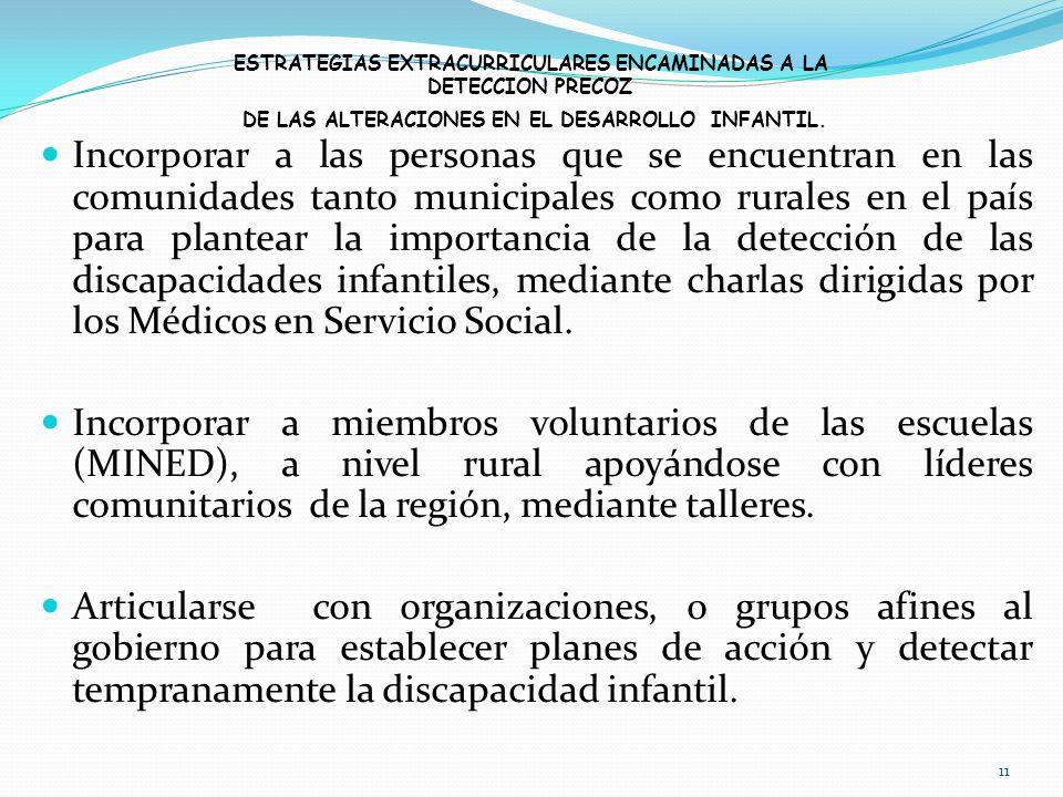 ESTRATEGIAS EXTRACURRICULARES ENCAMINADAS A LA DETECCION PRECOZ DE LAS ALTERACIONES EN EL DESARROLLO INFANTIL.