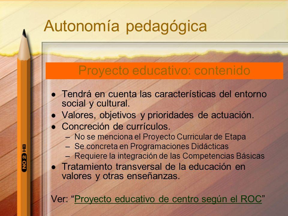 Proyecto educativo: contenido