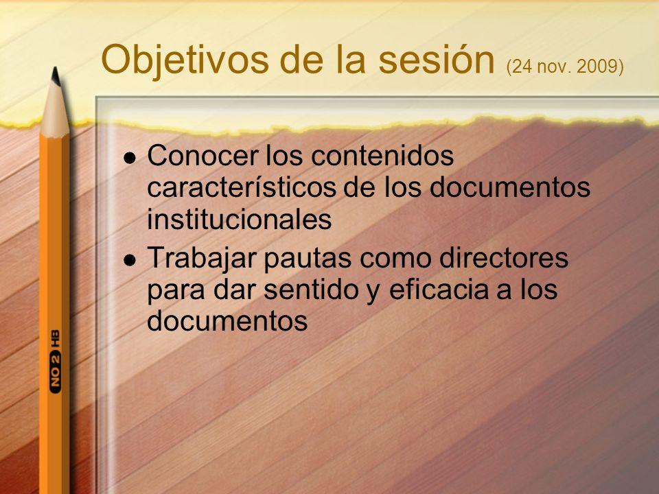 Objetivos de la sesión (24 nov. 2009)