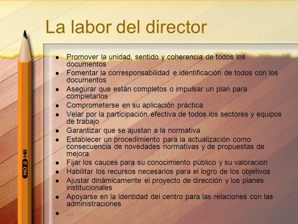La labor del director Promover la unidad, sentido y coherencia de todos los documentos.