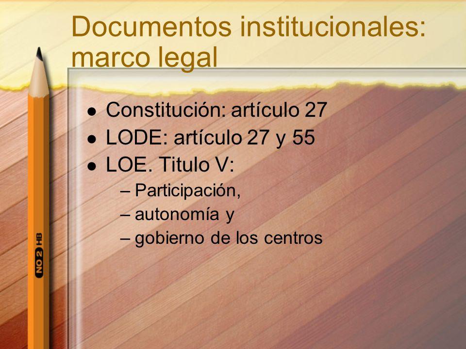 Documentos institucionales: marco legal