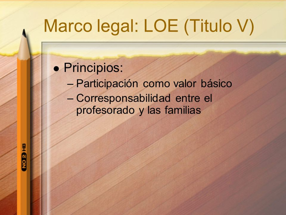 Marco legal: LOE (Titulo V)