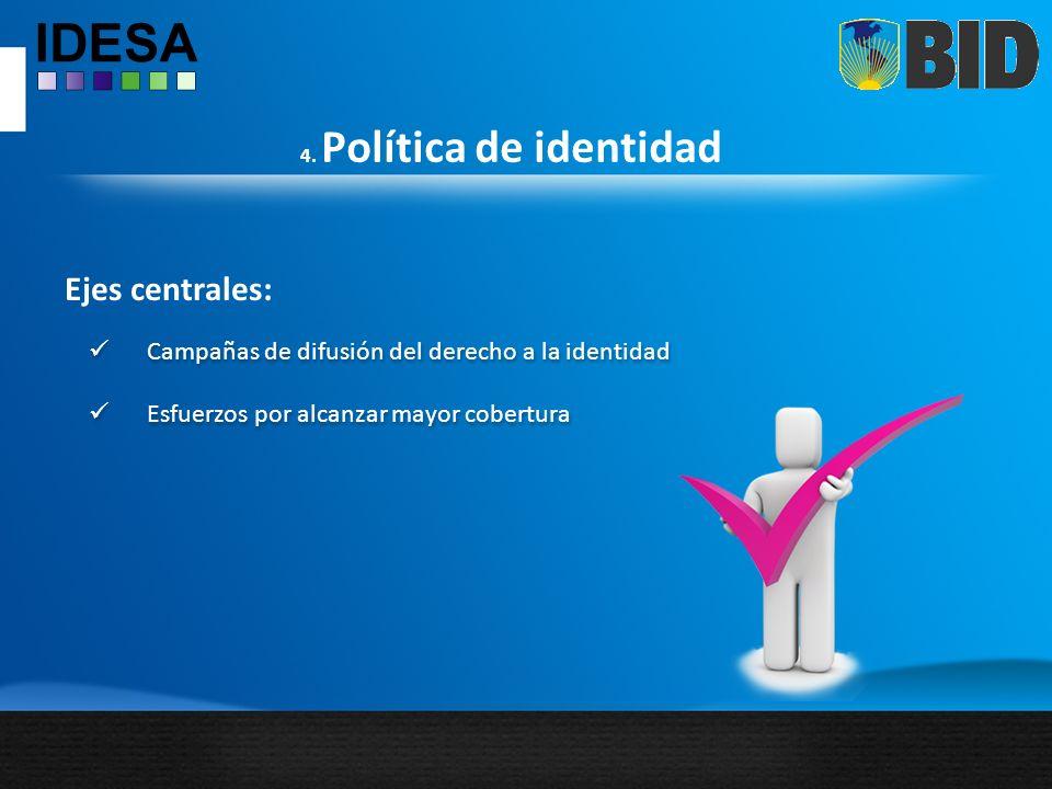 Ejes centrales: Campañas de difusión del derecho a la identidad