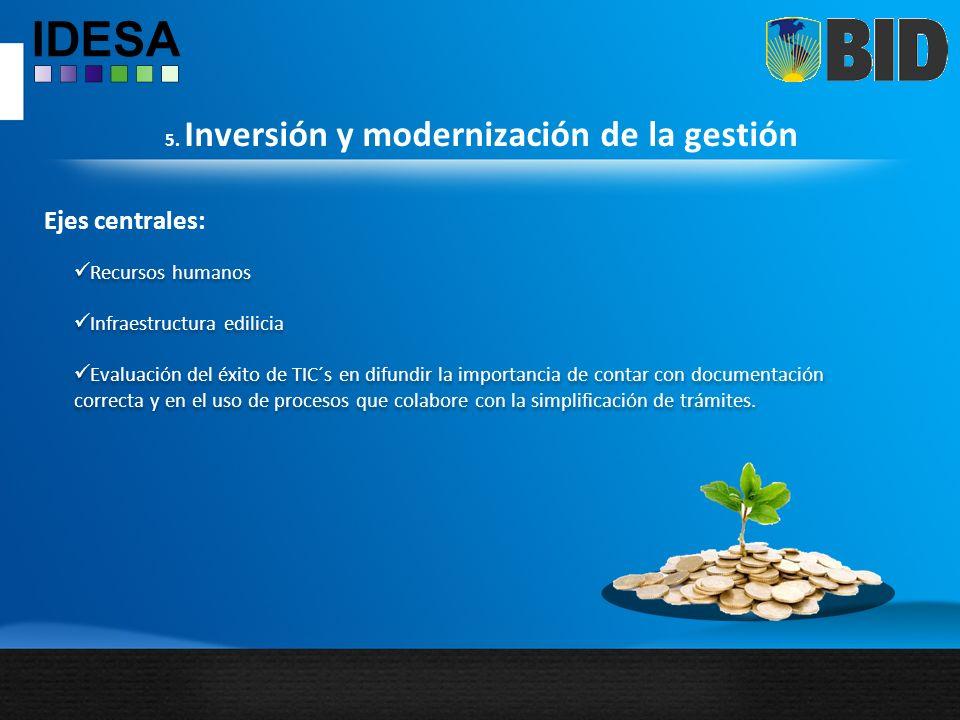 5. Inversión y modernización de la gestión