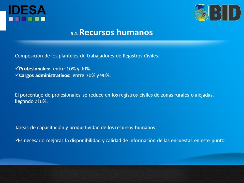 Composición de los planteles de trabajadores de Registros Civiles: