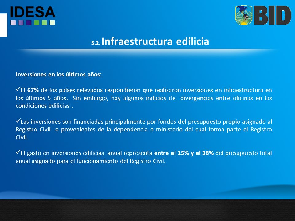 5.2. Infraestructura edilicia