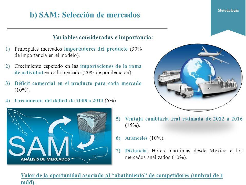 b) SAM: Selección de mercados