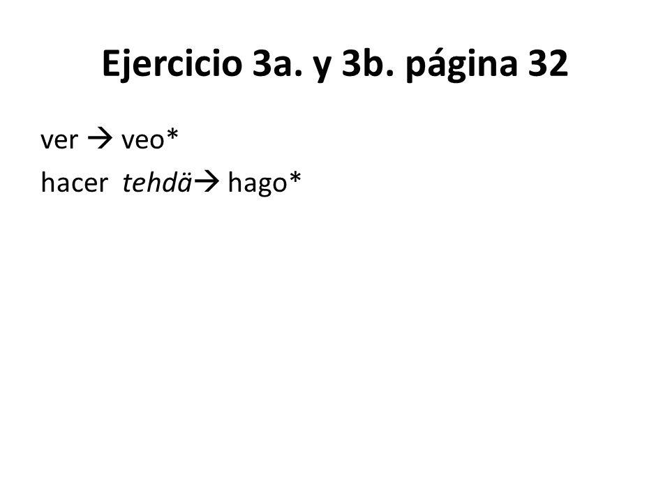 Ejercicio 3a. y 3b. página 32 ver  veo* hacer tehdä hago*