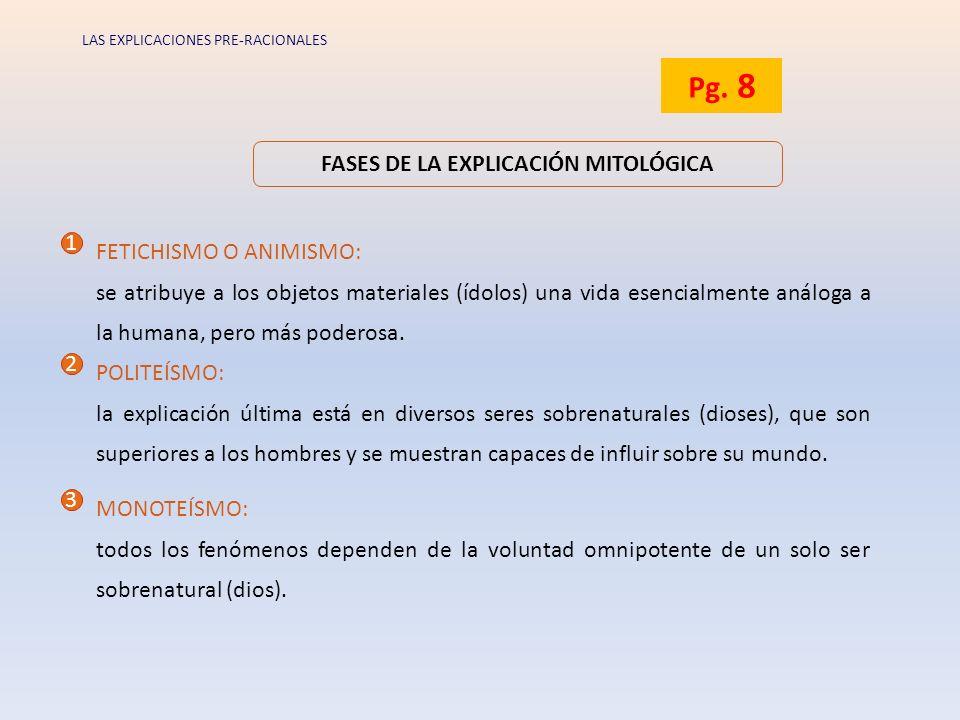 FASES DE LA EXPLICACIÓN MITOLÓGICA