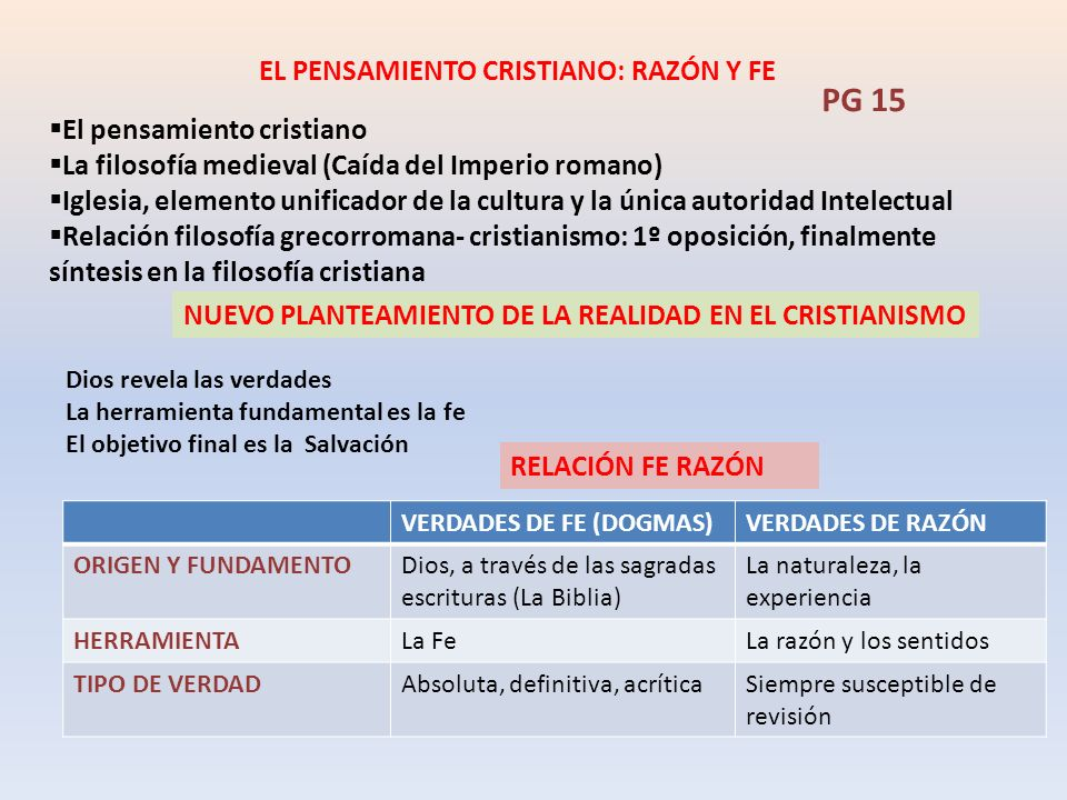 EL PENSAMIENTO CRISTIANO: RAZÓN Y FE