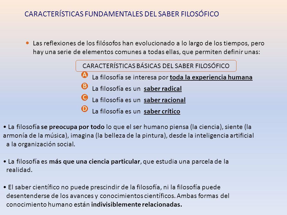 CARACTERÍSTICAS BÁSICAS DEL SABER FILOSÓFICO