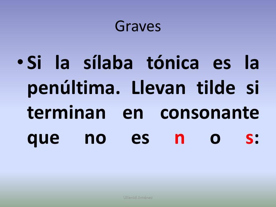 Graves Si la sílaba tónica es la penúltima. Llevan tilde si terminan en consonante que no es n o s: