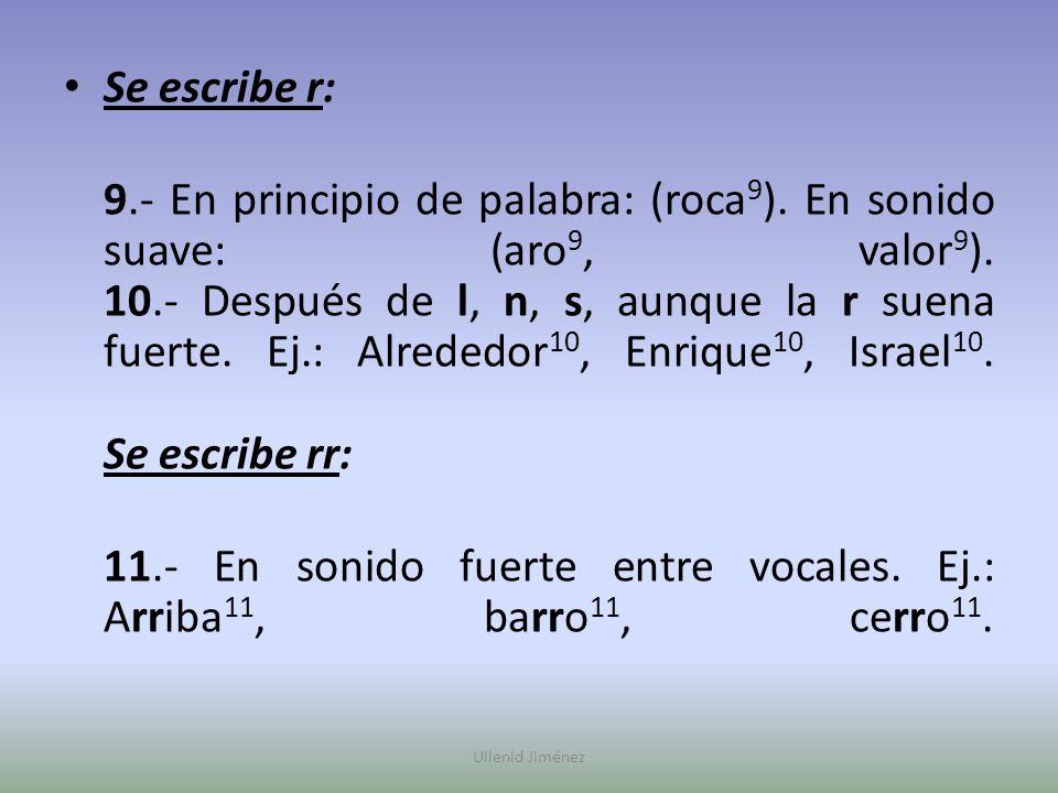 11.- En sonido fuerte entre vocales. Ej.: Arriba11, barro11, cerro11.