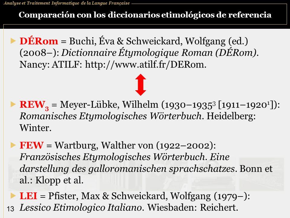 Comparación con los diccionarios etimológicos de referencia