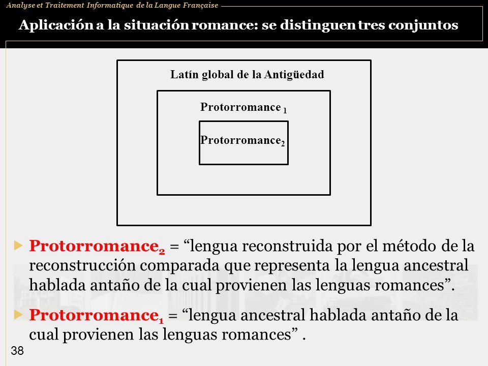 Aplicación a la situación romance: se distinguen tres conjuntos