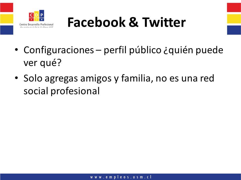Facebook & Twitter Configuraciones – perfil público ¿quién puede ver qué.