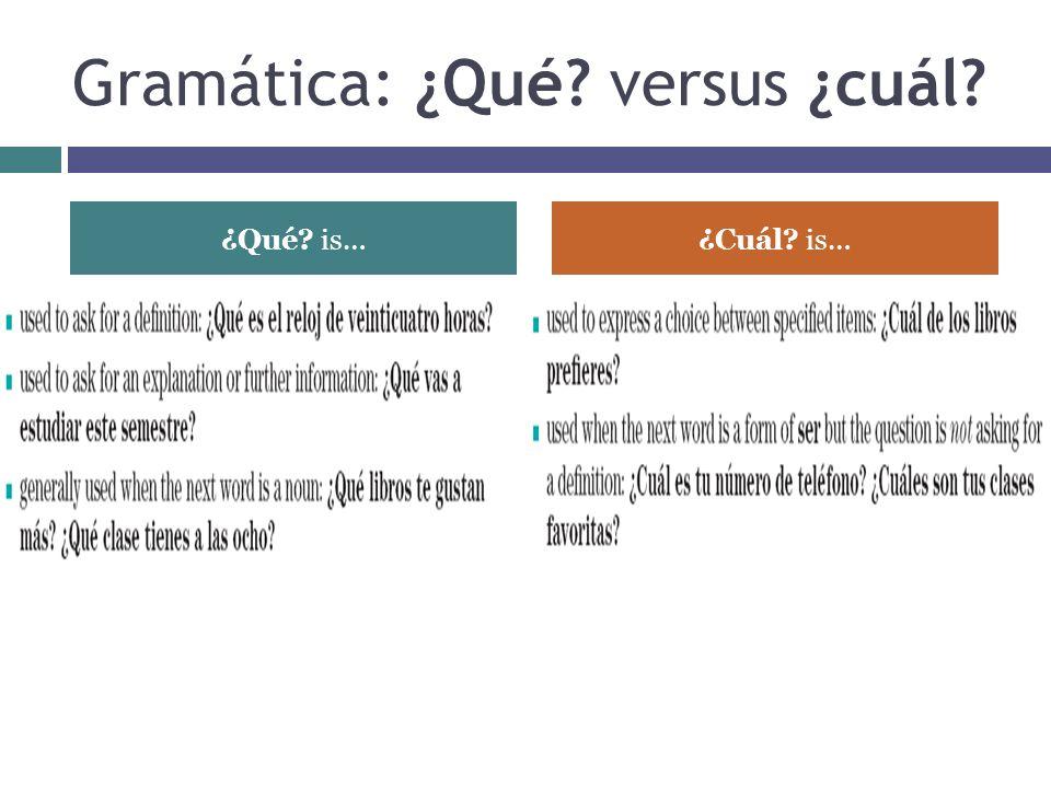 Gramática: ¿Qué versus ¿cuál