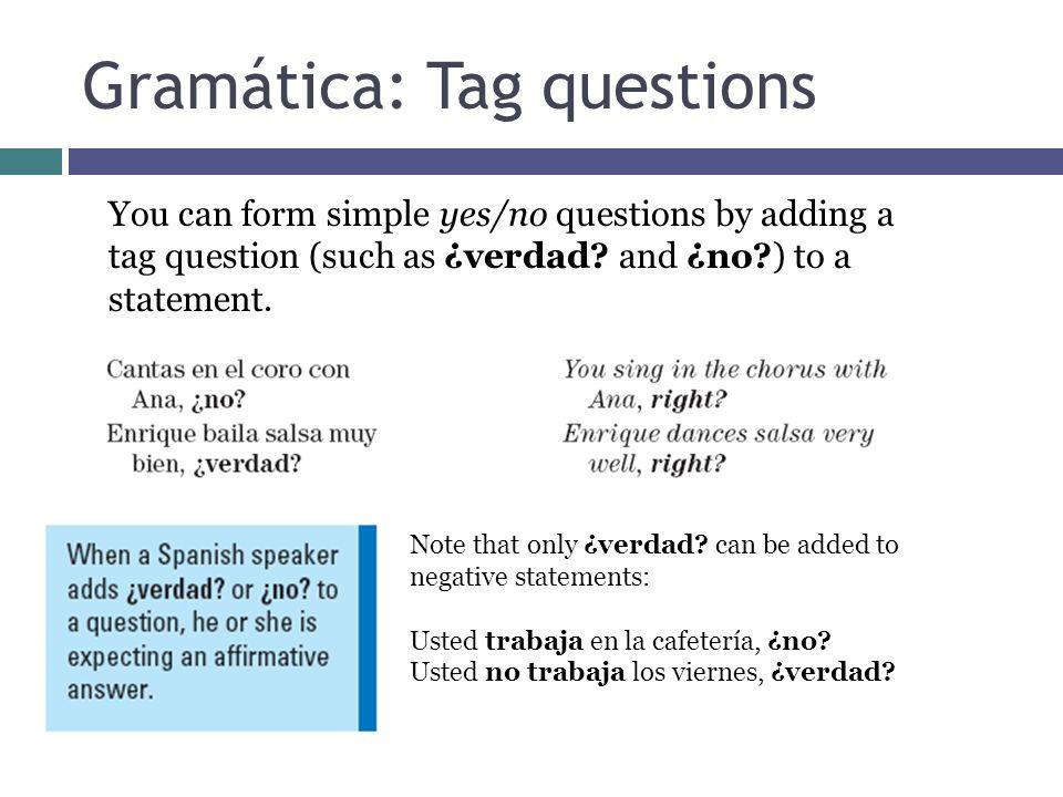 Gramática: Tag questions
