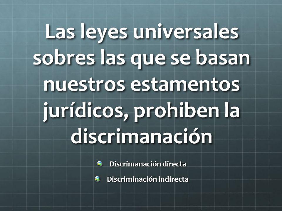 Discrimanación directa Discriminación indirecta
