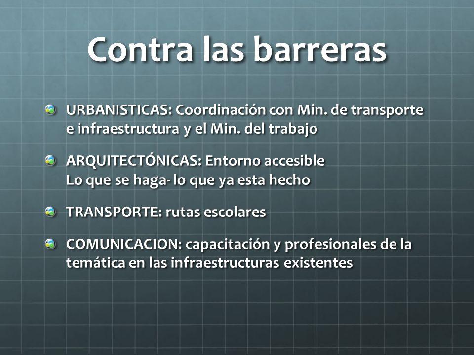 Contra las barreras URBANISTICAS: Coordinación con Min. de transporte e infraestructura y el Min. del trabajo.