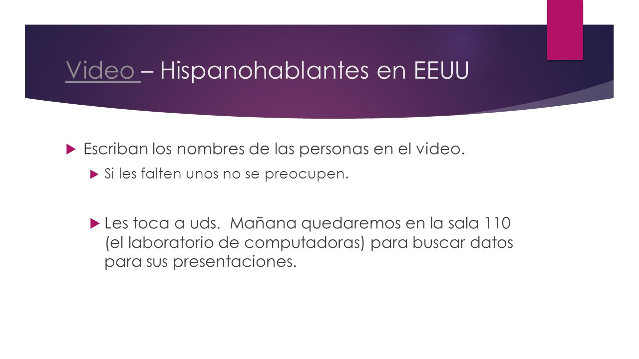 Video – Hispanohablantes en EEUU