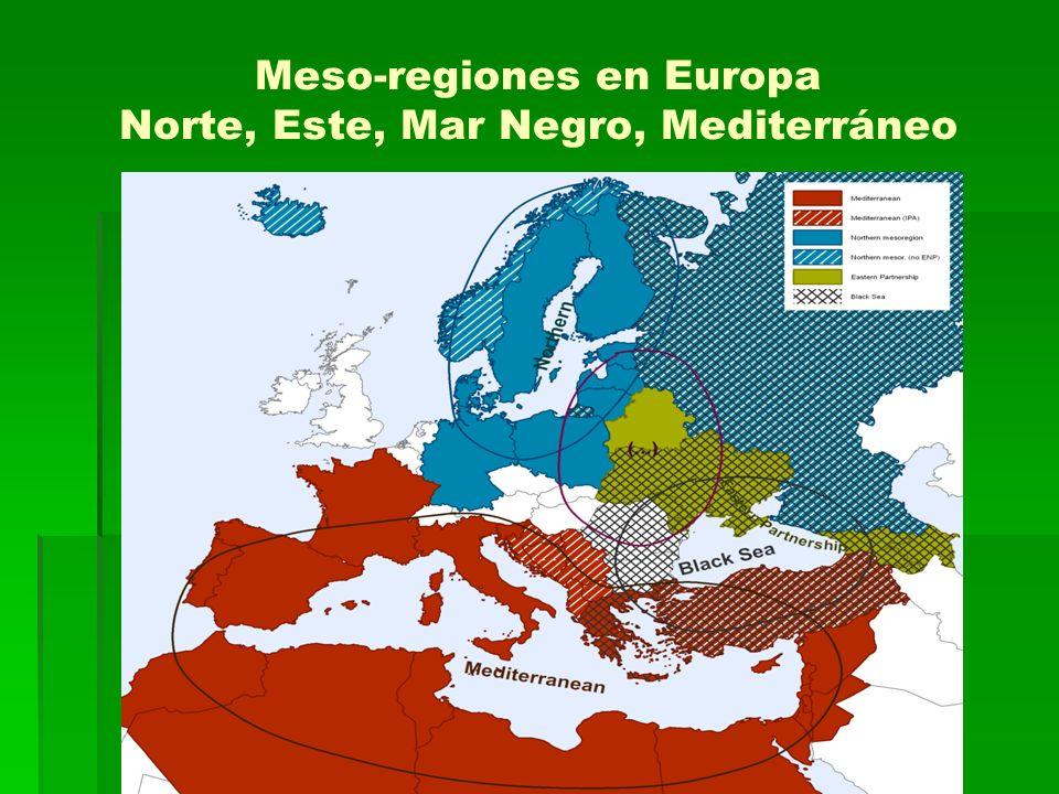 Meso-regiones en Europa Norte, Este, Mar Negro, Mediterráneo