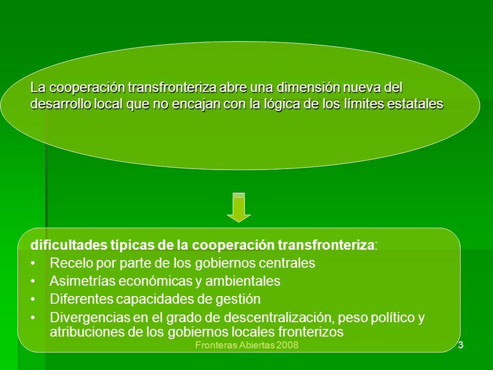 dificultades típicas de la cooperación transfronteriza:
