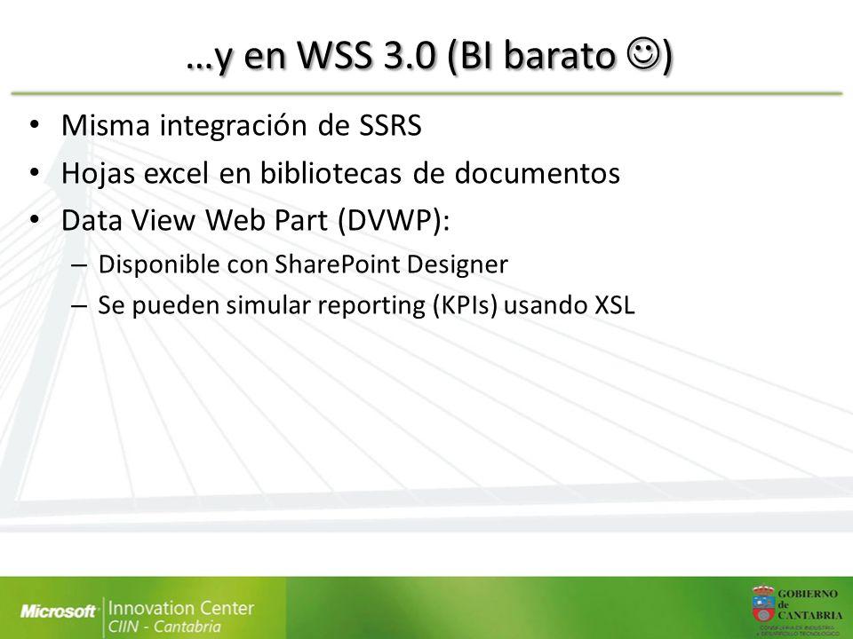 …y en WSS 3.0 (BI barato ) Misma integración de SSRS