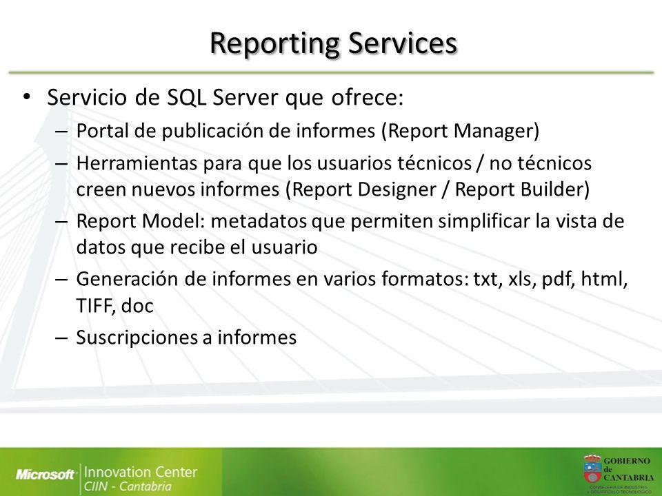 Reporting Services Servicio de SQL Server que ofrece:
