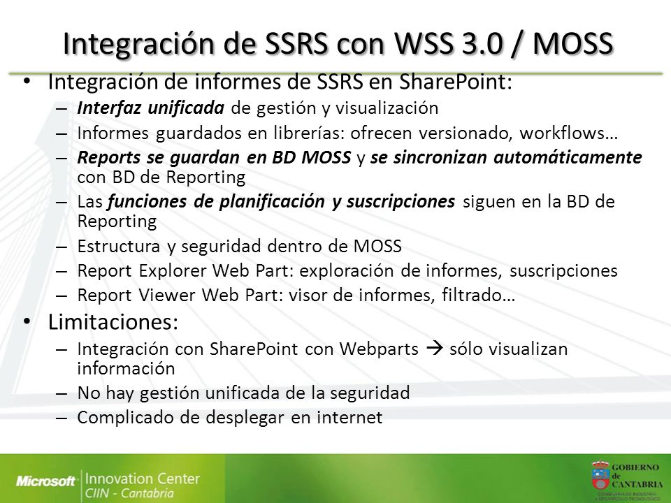 Integración de SSRS con WSS 3.0 / MOSS