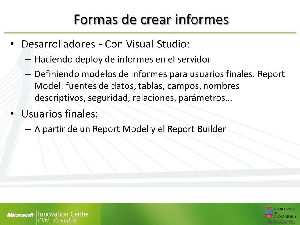 Formas de crear informes